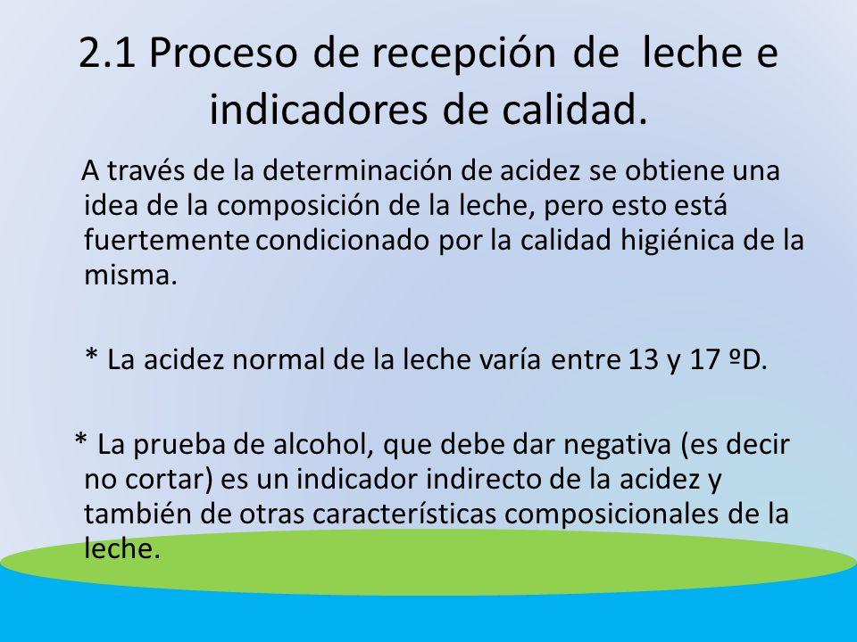 2.1 Proceso de recepción de leche e indicadores de calidad. A través de la determinación de acidez se obtiene una idea de la composición de la leche,