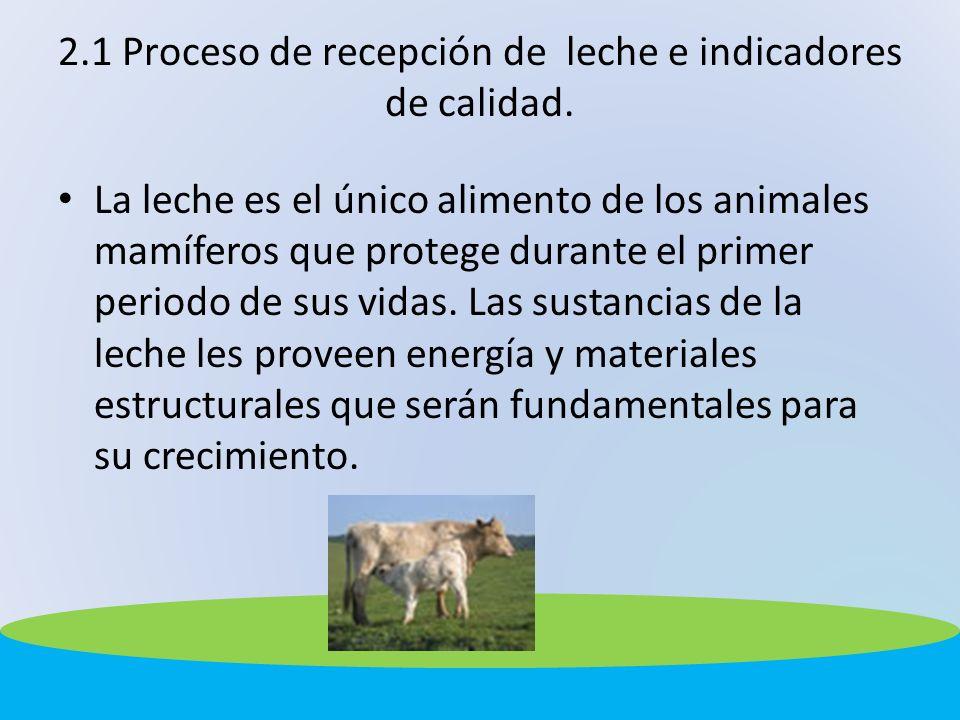 2.1 Proceso de recepción de leche e indicadores de calidad. La leche es el único alimento de los animales mamíferos que protege durante el primer peri
