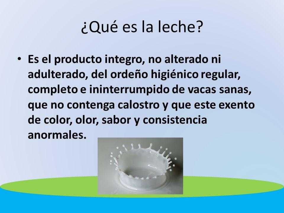 ¿Qué es la leche? Es el producto integro, no alterado ni adulterado, del ordeño higiénico regular, completo e ininterrumpido de vacas sanas, que no co
