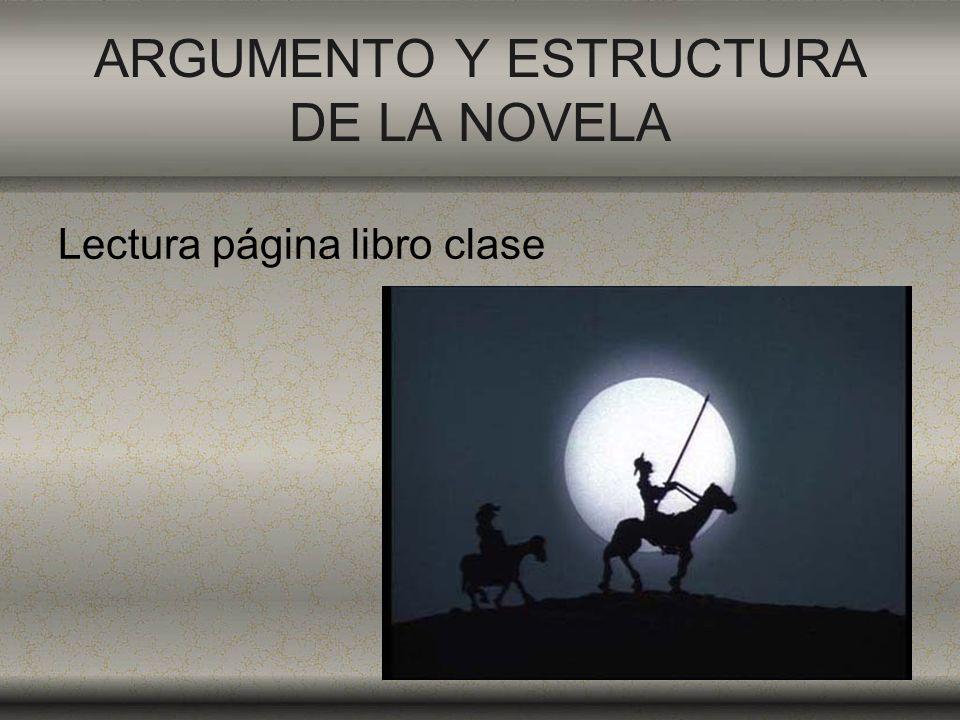 ARGUMENTO Y ESTRUCTURA DE LA NOVELA Lectura página libro clase