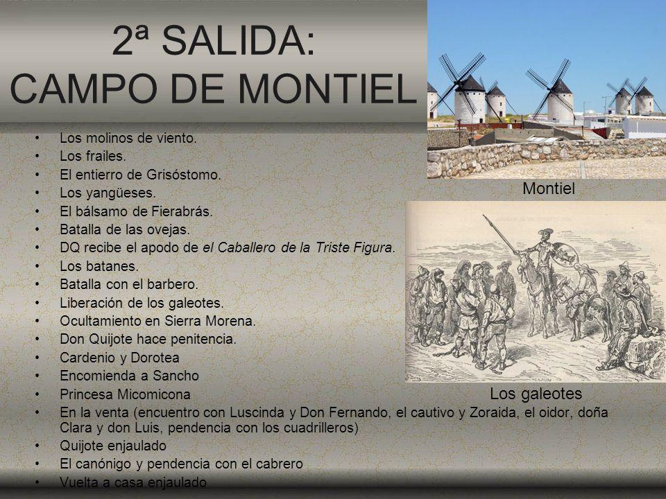 2ª SALIDA: CAMPO DE MONTIEL Los molinos de viento. Los frailes. El entierro de Grisóstomo. Los yangüeses. El bálsamo de Fierabrás. Batalla de las ovej