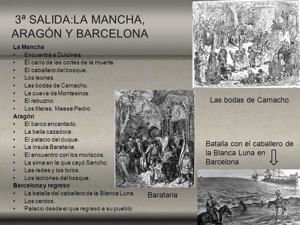 3ª SALIDA:LA MANCHA, ARAGÓN Y BARCELONA La Mancha Encuentra a Dulcinea. El carro de las cortes de la muerte. El caballero del bosque. Los leones. Las