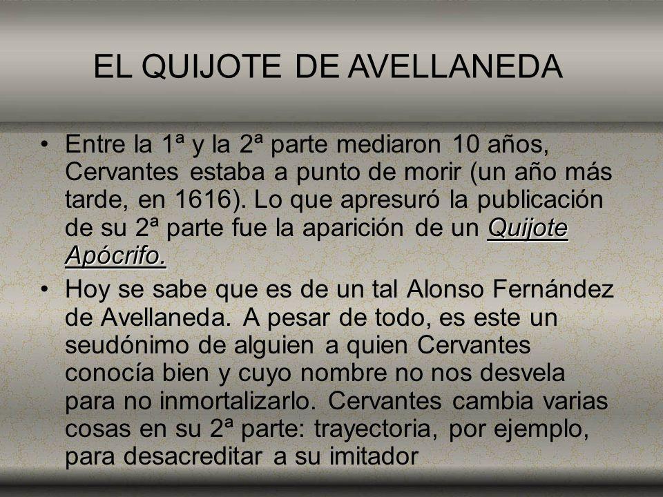 Quijote Apócrifo.Entre la 1ª y la 2ª parte mediaron 10 años, Cervantes estaba a punto de morir (un año más tarde, en 1616). Lo que apresuró la publica