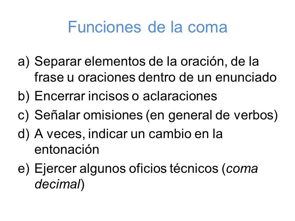Funciones de la coma a)Separar elementos de la oración, de la frase u oraciones dentro de un enunciado b)Encerrar incisos o aclaraciones c)Señalar omi