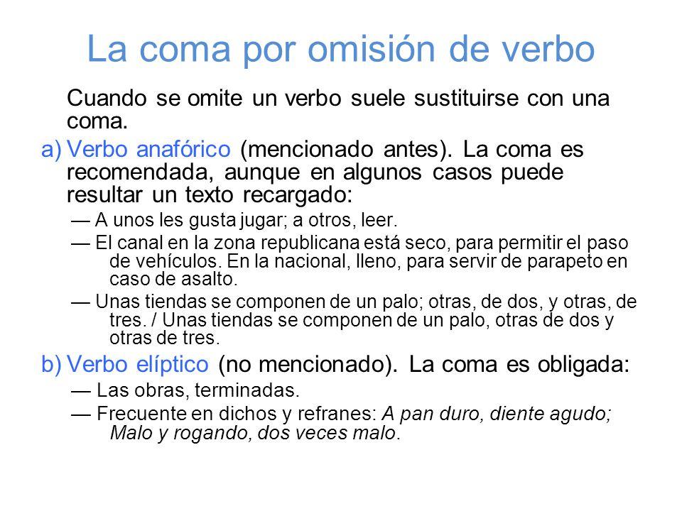 La coma por omisión de verbo Cuando se omite un verbo suele sustituirse con una coma. a)Verbo anafórico (mencionado antes). La coma es recomendada, au