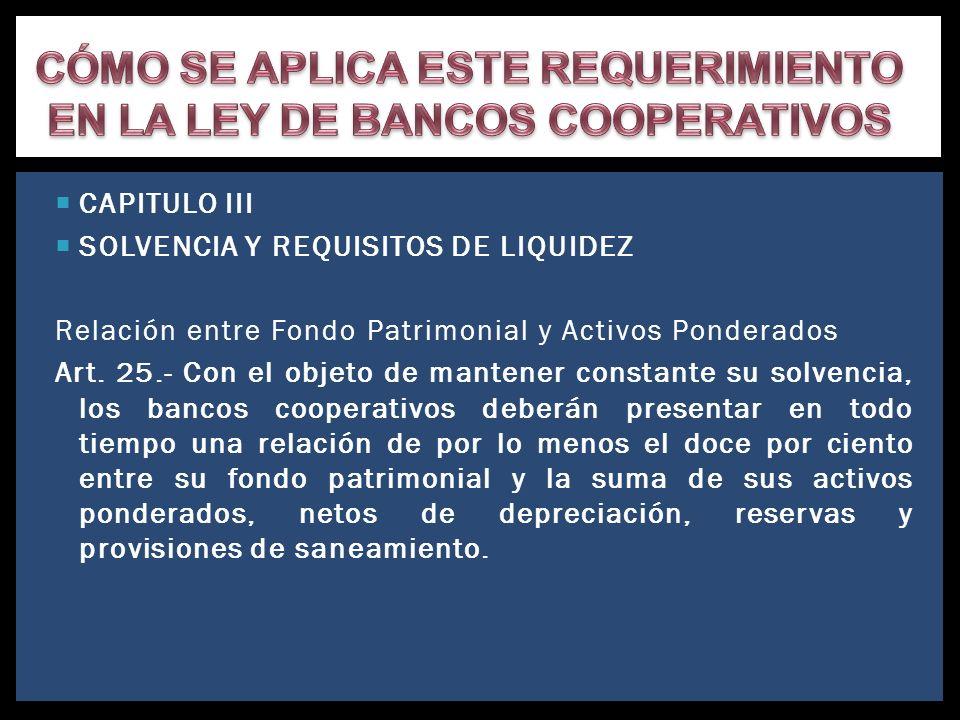 CAPITULO III SOLVENCIA Y REQUISITOS DE LIQUIDEZ Relación entre Fondo Patrimonial y Activos Ponderados Art. 25.- Con el objeto de mantener constante su