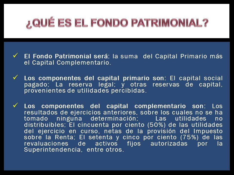 El Fondo Patrimonial será: la suma del Capital Primario más el Capital Complementario. Los componentes del capital primario son: El capital social pag