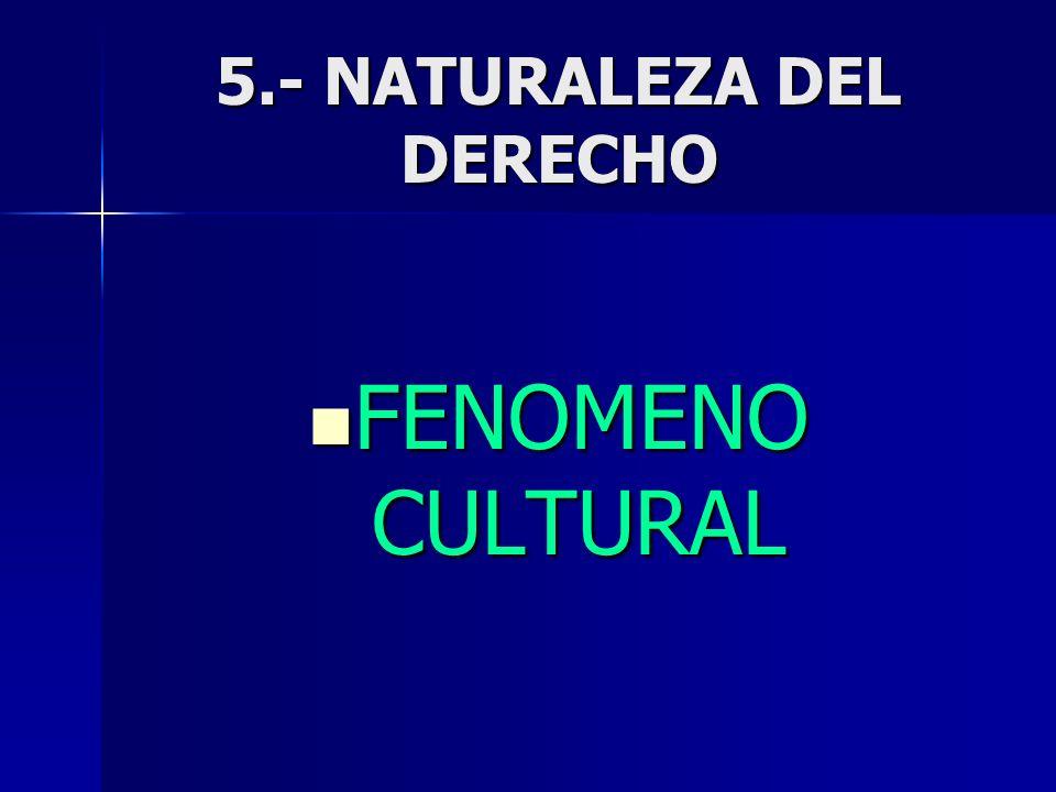 5.- NATURALEZA DEL DERECHO FENOMENO CULTURAL FENOMENO CULTURAL
