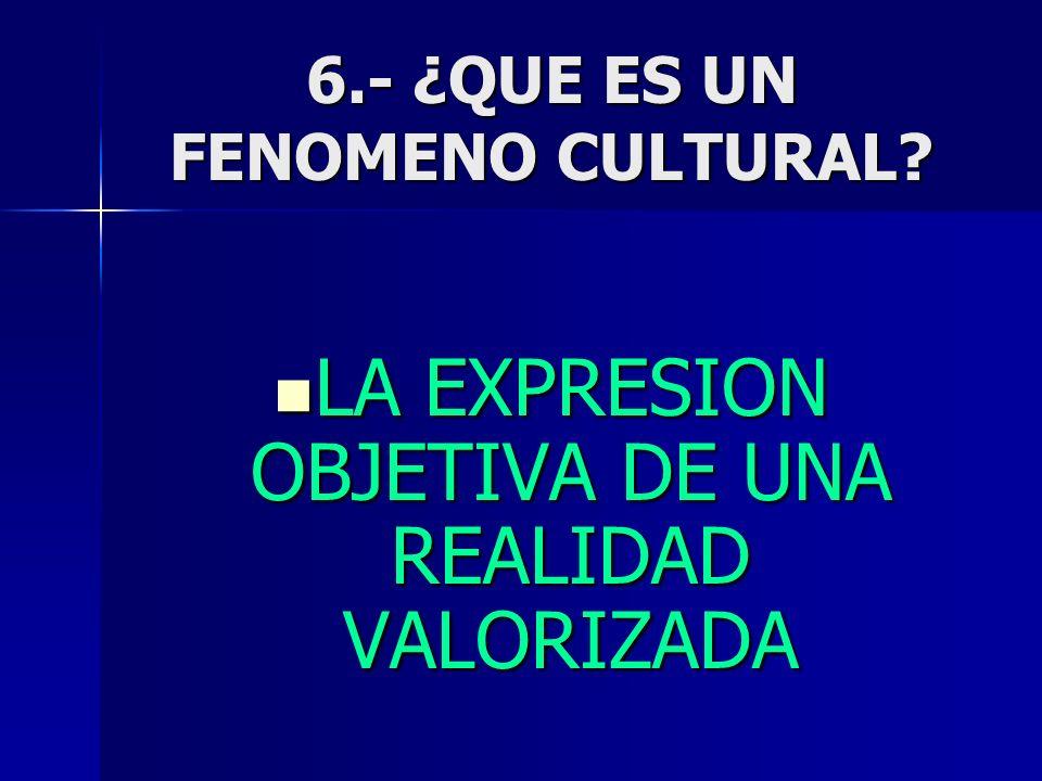 6.- ¿QUE ES UN FENOMENO CULTURAL? LA EXPRESION OBJETIVA DE UNA REALIDAD VALORIZADA LA EXPRESION OBJETIVA DE UNA REALIDAD VALORIZADA