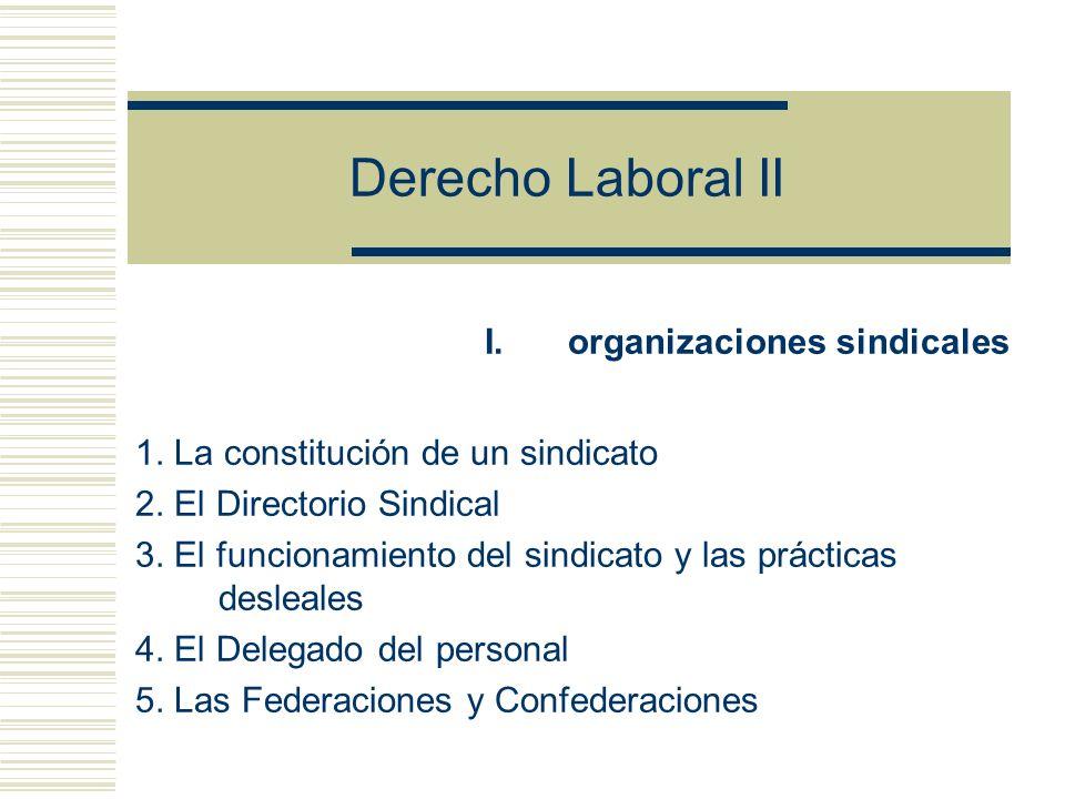Derecho Laboral II I.organizaciones sindicales 1.La constitución de un sindicato 2.