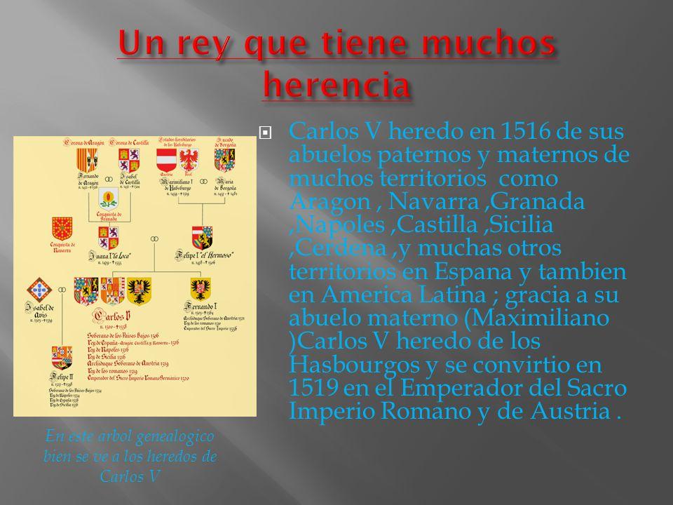 Carlos V heredo en 1516 de sus abuelos paternos y maternos de muchos territorios como Aragon, Navarra,Granada,Napoles,Castilla,Sicilia,Cerdena,y mucha