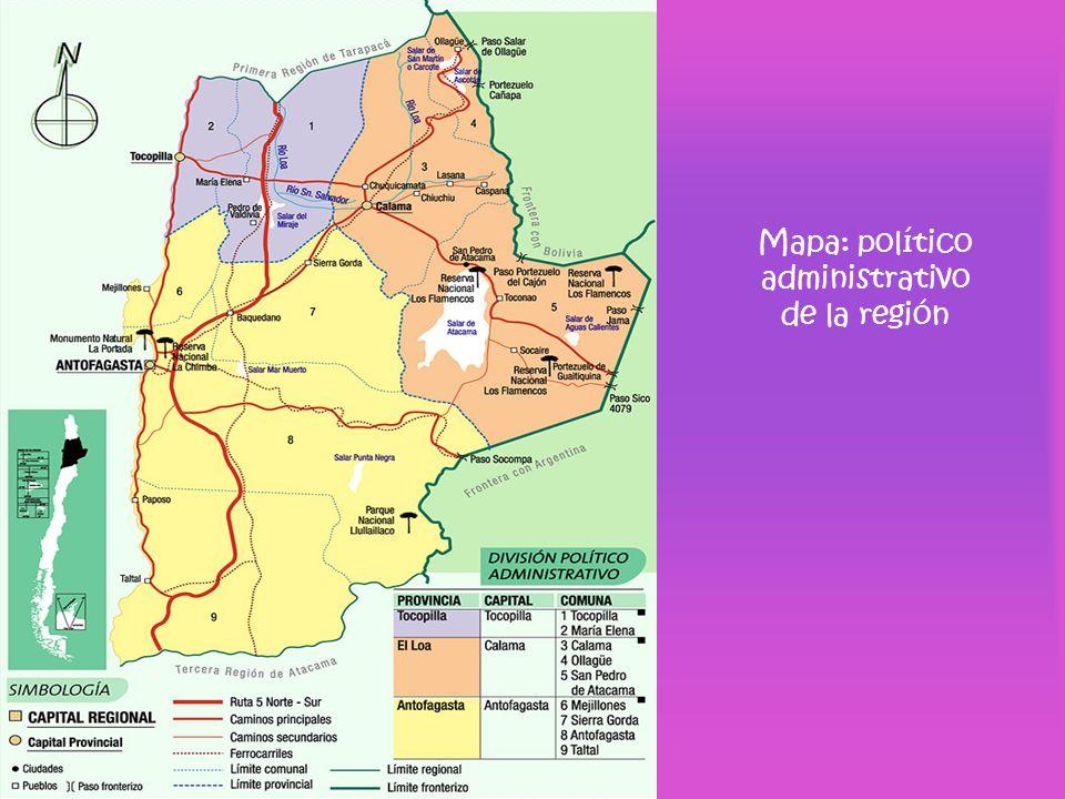 Mapa: político administrativo de la región