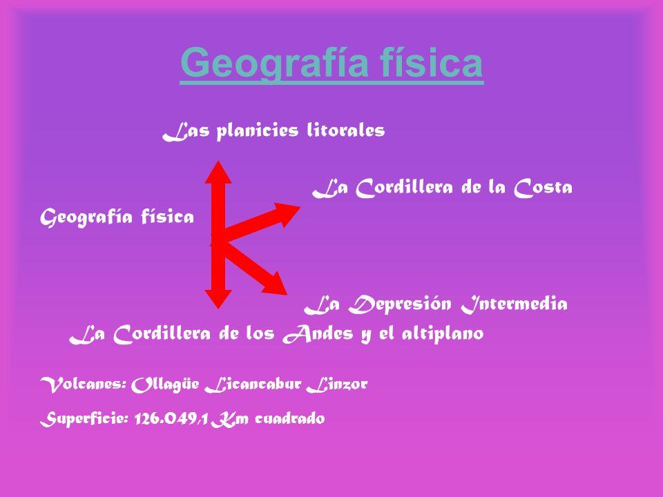 Geografía física Las planicies litorales La Cordillera de la Costa Geografía física La Depresión Intermedia La Cordillera de los Andes y el altiplano
