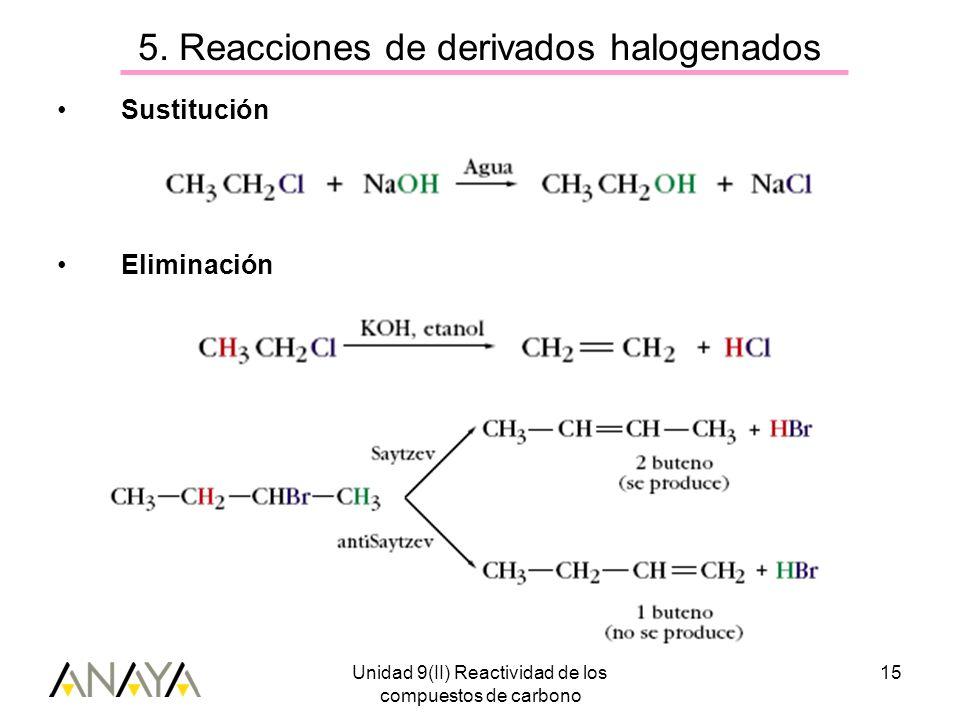 Unidad 9(II) Reactividad de los compuestos de carbono 15 5. Reacciones de derivados halogenados Sustitución Eliminación