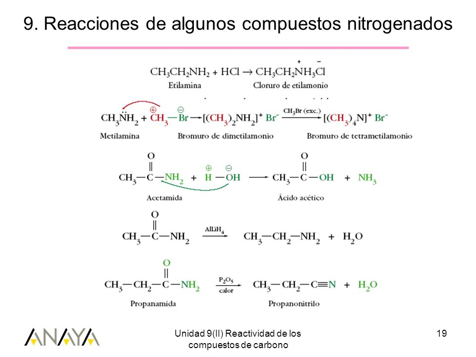 Unidad 9(II) Reactividad de los compuestos de carbono 19 9. Reacciones de algunos compuestos nitrogenados