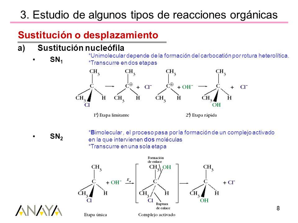Unidad 9(II) Reactividad de los compuestos de carbono 8 3. Estudio de algunos tipos de reacciones orgánicas Sustitución o desplazamiento a)Sustitución
