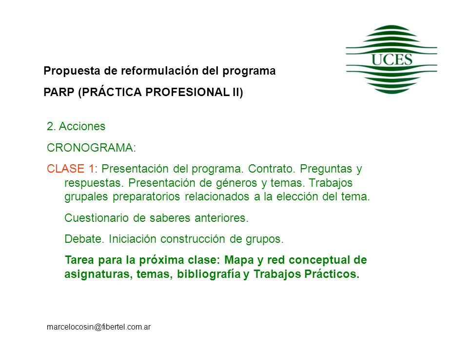 Propuesta de reformulación del programa PARP (PRÁCTICA PROFESIONAL II) marcelocosin@fibertel.com.ar 2. Acciones CRONOGRAMA: CLASE 1: Presentación del