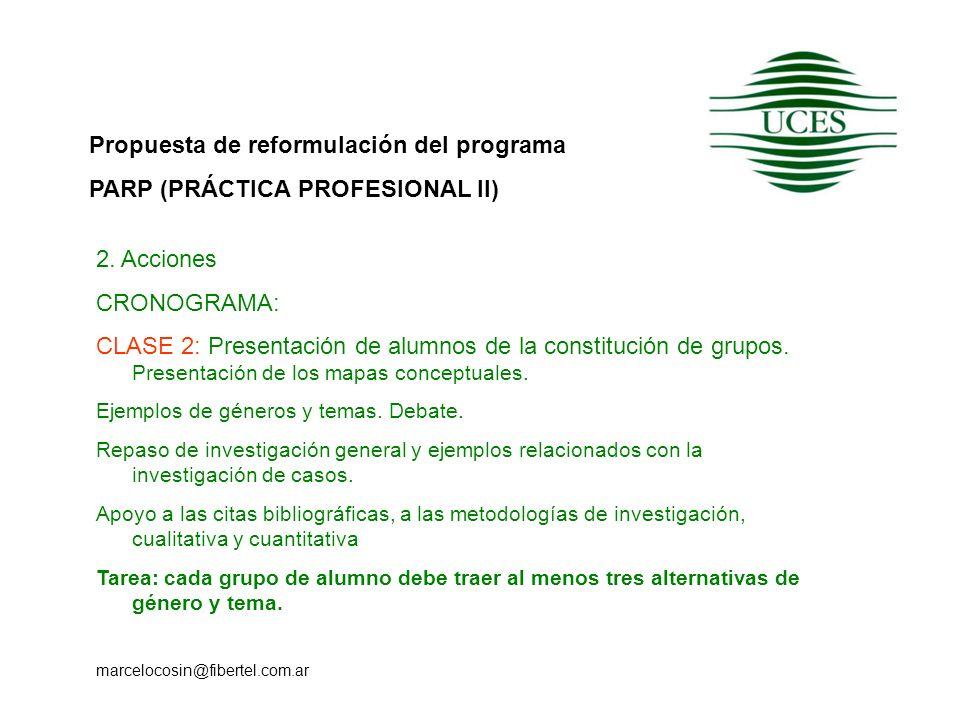 Propuesta de reformulación del programa PARP (PRÁCTICA PROFESIONAL II) marcelocosin@fibertel.com.ar 2. Acciones CRONOGRAMA: CLASE 2: Presentación de a