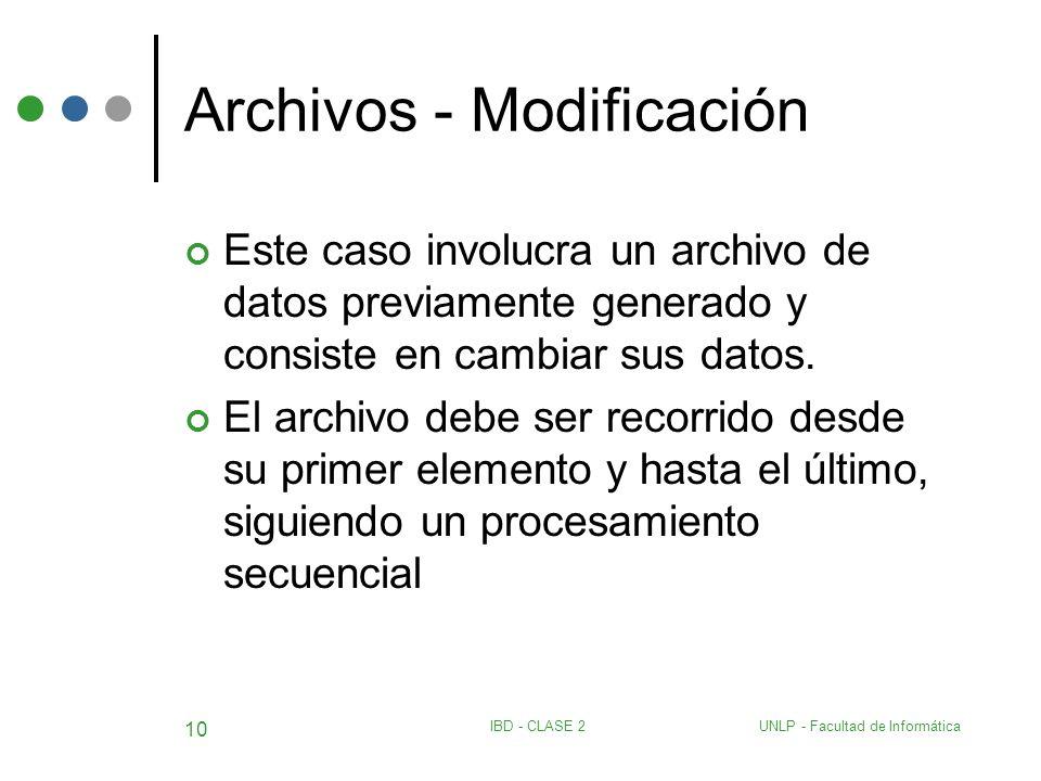UNLP - Facultad de InformáticaIBD - CLASE 2 10 Archivos - Modificación Este caso involucra un archivo de datos previamente generado y consiste en camb