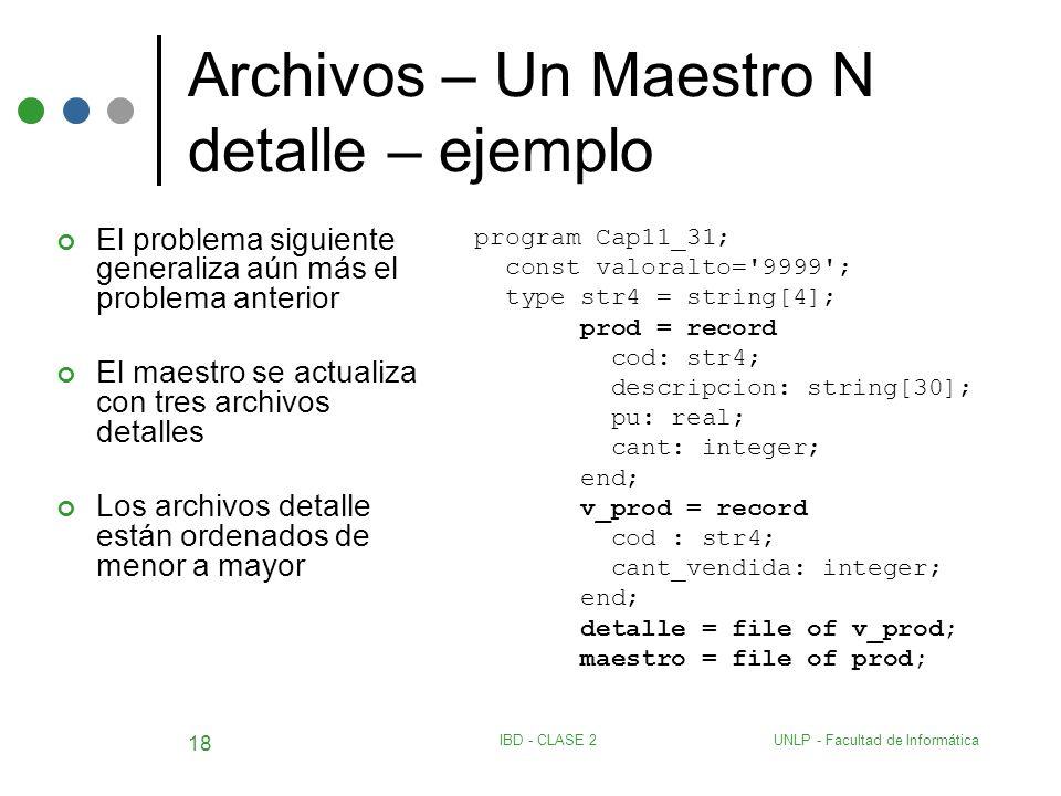 UNLP - Facultad de InformáticaIBD - CLASE 2 18 Archivos – Un Maestro N detalle – ejemplo El problema siguiente generaliza aún más el problema anterior