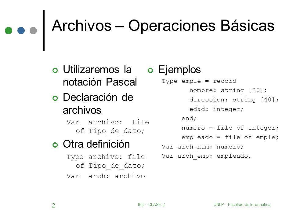 UNLP - Facultad de InformáticaIBD - CLASE 2 2 Archivos – Operaciones Básicas Utilizaremos la notación Pascal Declaración de archivos Var archivo: file
