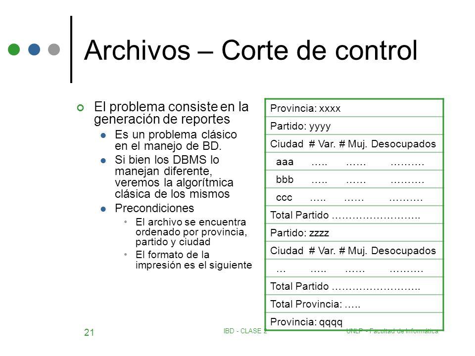 UNLP - Facultad de InformáticaIBD - CLASE 2 21 Archivos – Corte de control El problema consiste en la generación de reportes Es un problema clásico en