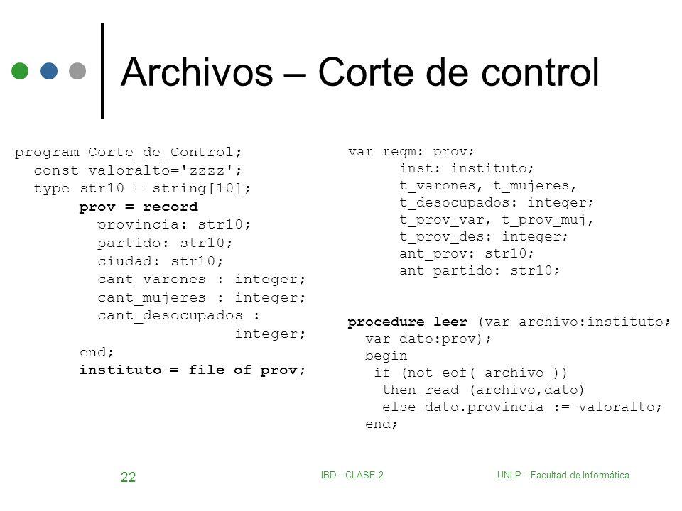 UNLP - Facultad de InformáticaIBD - CLASE 2 22 Archivos – Corte de control program Corte_de_Control; const valoralto='zzzz'; type str10 = string[10];