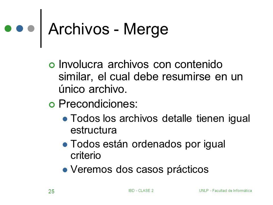 UNLP - Facultad de InformáticaIBD - CLASE 2 25 Archivos - Merge Involucra archivos con contenido similar, el cual debe resumirse en un único archivo.
