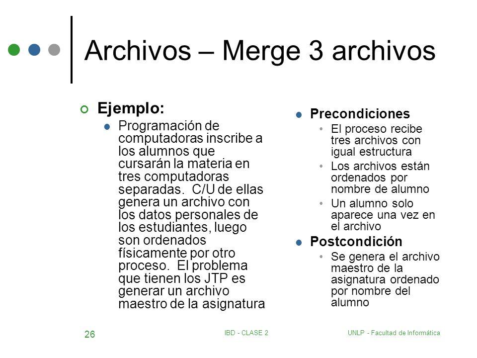 UNLP - Facultad de InformáticaIBD - CLASE 2 26 Archivos – Merge 3 archivos Ejemplo: Programación de computadoras inscribe a los alumnos que cursarán l
