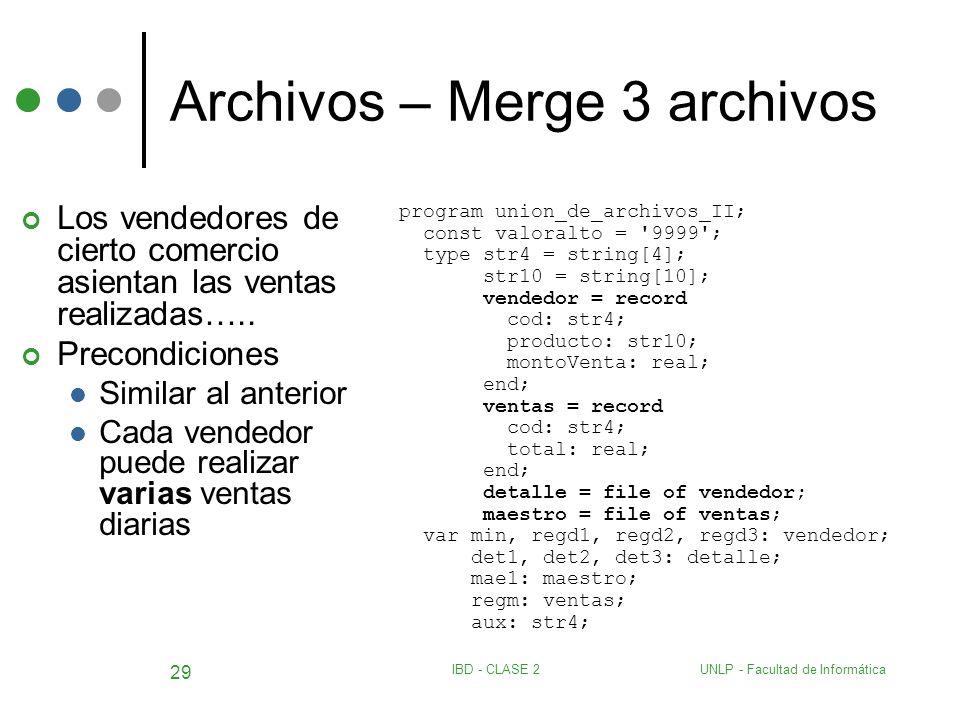 UNLP - Facultad de InformáticaIBD - CLASE 2 29 Archivos – Merge 3 archivos Los vendedores de cierto comercio asientan las ventas realizadas….. Precond
