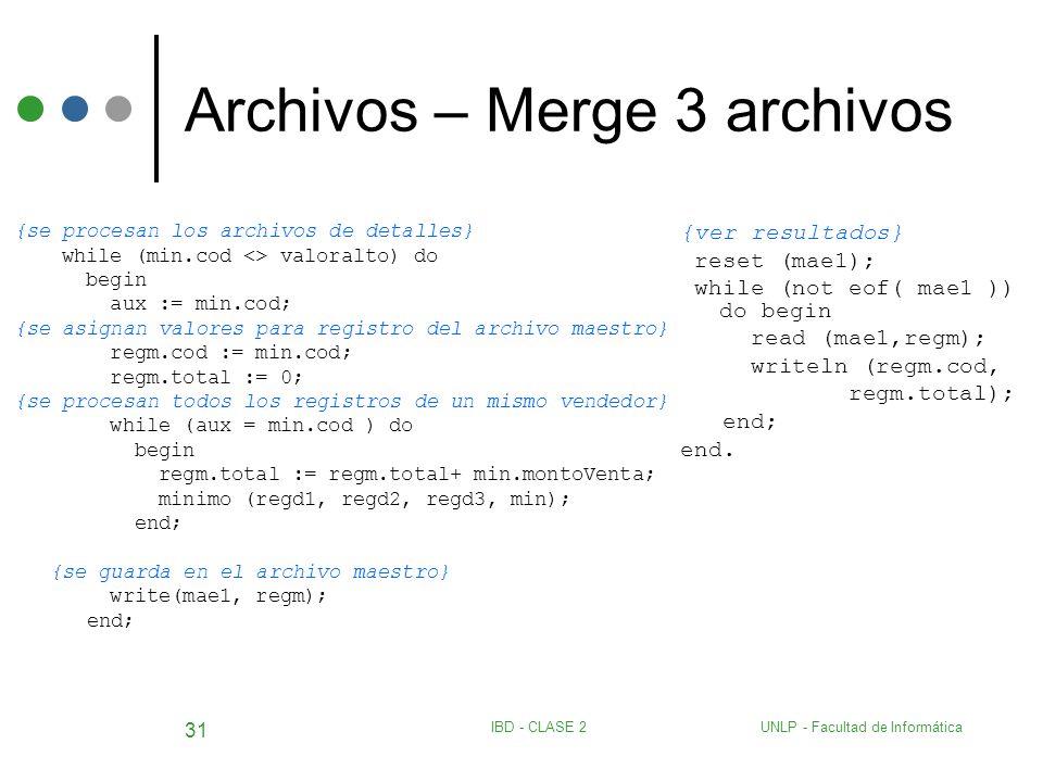 UNLP - Facultad de InformáticaIBD - CLASE 2 31 Archivos – Merge 3 archivos {se procesan los archivos de detalles} while (min.cod <> valoralto) do begi