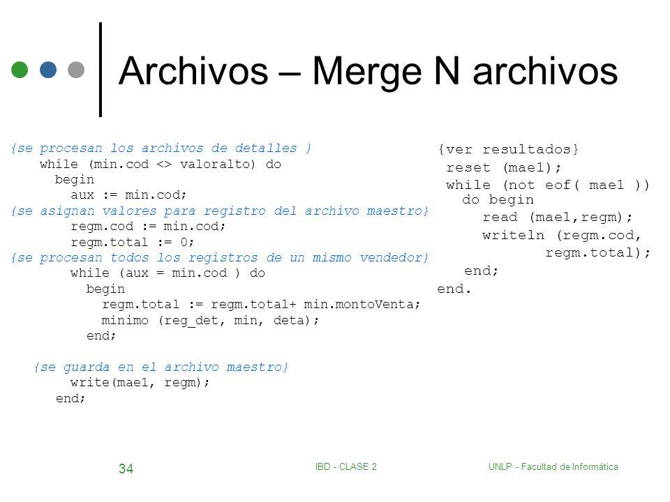 UNLP - Facultad de InformáticaIBD - CLASE 2 34 Archivos – Merge N archivos {se procesan los archivos de detalles } while (min.cod <> valoralto) do beg