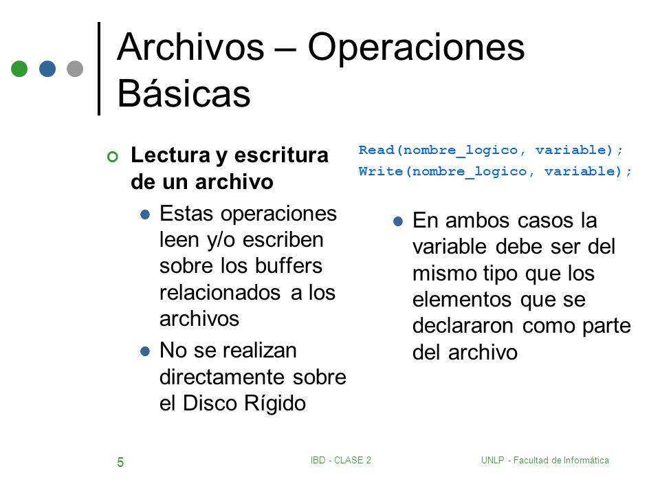 UNLP - Facultad de InformáticaIBD - CLASE 2 16 Archivos – Un Maestro Un detalle – ejemplo program actualizar; const valoralto= 9999 ; type str4 = string[4]; prod = record cod: str4; descripcion: string[30]; pu: real; cant: integer; end; v_prod = record cod: str4; cant_vendida: integer; end; detalle = file of v_prod; maestro = file of prod; var regm: prod; regd: v_prod; mae1: maestro; det1: detalle; total: integer; aux: str4; procedure leer (var archivo:detalle; var dato:v_prod); begin if (not eof(archivo)) then read (archivo,dato) else dato.cod:= valoralto; end; begin assign (mae1, maestro ); assign (det1, detalle ); {proceso principal} reset (mae1); reset (det1); read(mae1,regm); leer(det1,regd); {se procesan todos los registros del archivo det1}