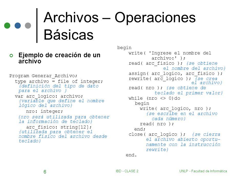 UNLP - Facultad de InformáticaIBD - CLASE 2 6 Archivos – Operaciones Básicas Ejemplo de creación de un archivo Program Generar_Archivo; type archivo =
