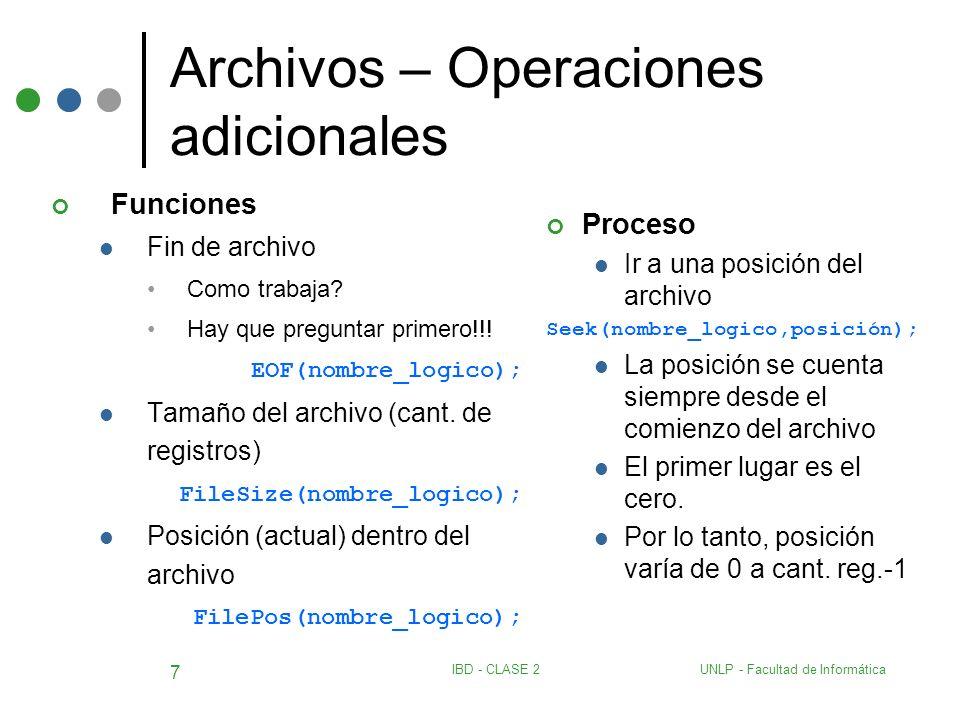 UNLP - Facultad de InformáticaIBD - CLASE 2 7 Archivos – Operaciones adicionales Funciones Fin de archivo Como trabaja? Hay que preguntar primero!!! E