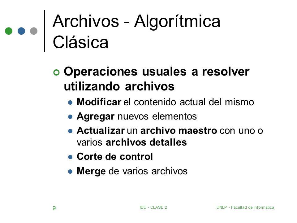 UNLP - Facultad de InformáticaIBD - CLASE 2 9 Archivos - Algorítmica Clásica Operaciones usuales a resolver utilizando archivos Modificar el contenido
