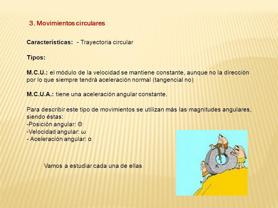 3. Movimientos circulares Características:- Trayectoria circular Tipos: M.C.U.: el módulo de la velocidad se mantiene constante, aunque no la direcció