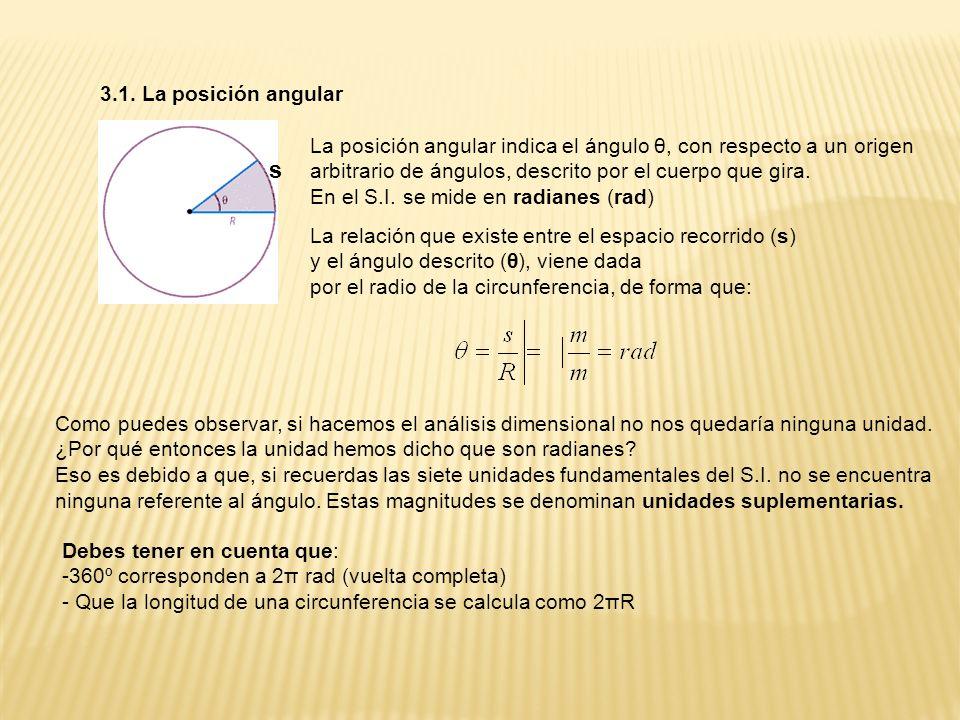 3.1. La posición angular La posición angular indica el ángulo θ, con respecto a un origen arbitrario de ángulos, descrito por el cuerpo que gira. En e