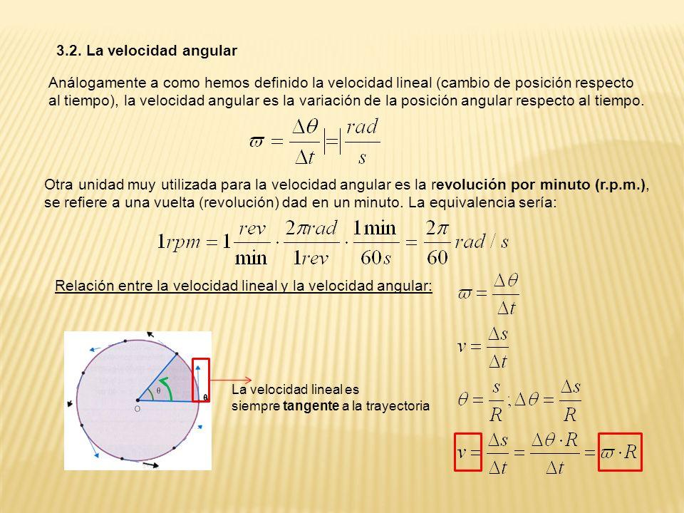 3.2. La velocidad angular Análogamente a como hemos definido la velocidad lineal (cambio de posición respecto al tiempo), la velocidad angular es la v
