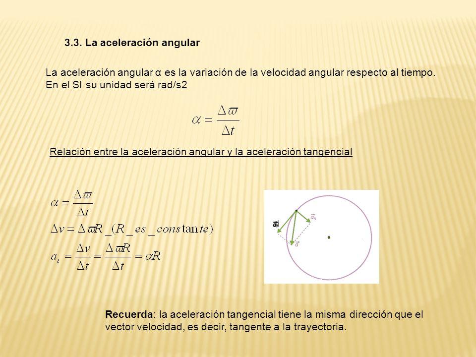 3.3. La aceleración angular La aceleración angular α es la variación de la velocidad angular respecto al tiempo. En el SI su unidad será rad/s2 Relaci