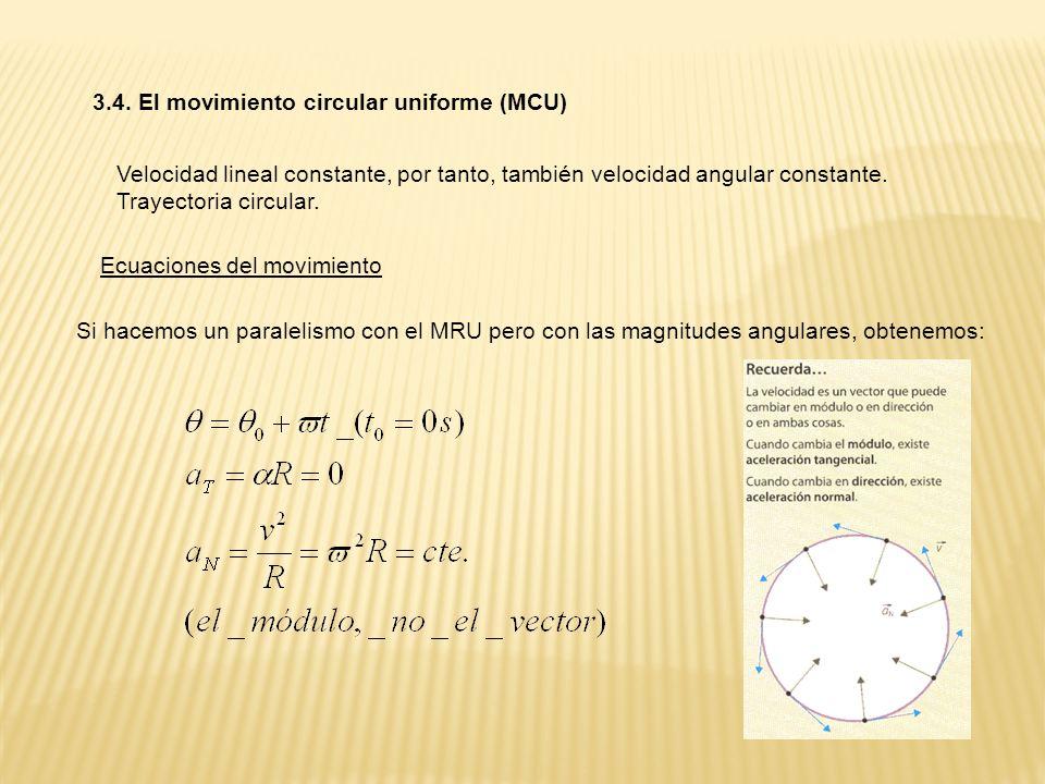 3.4. El movimiento circular uniforme (MCU) Velocidad lineal constante, por tanto, también velocidad angular constante. Trayectoria circular. Ecuacione