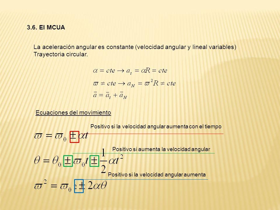 3.6. El MCUA La aceleración angular es constante (velocidad angular y lineal variables) Trayectoria circular. Ecuaciones del movimiento Positivo si la