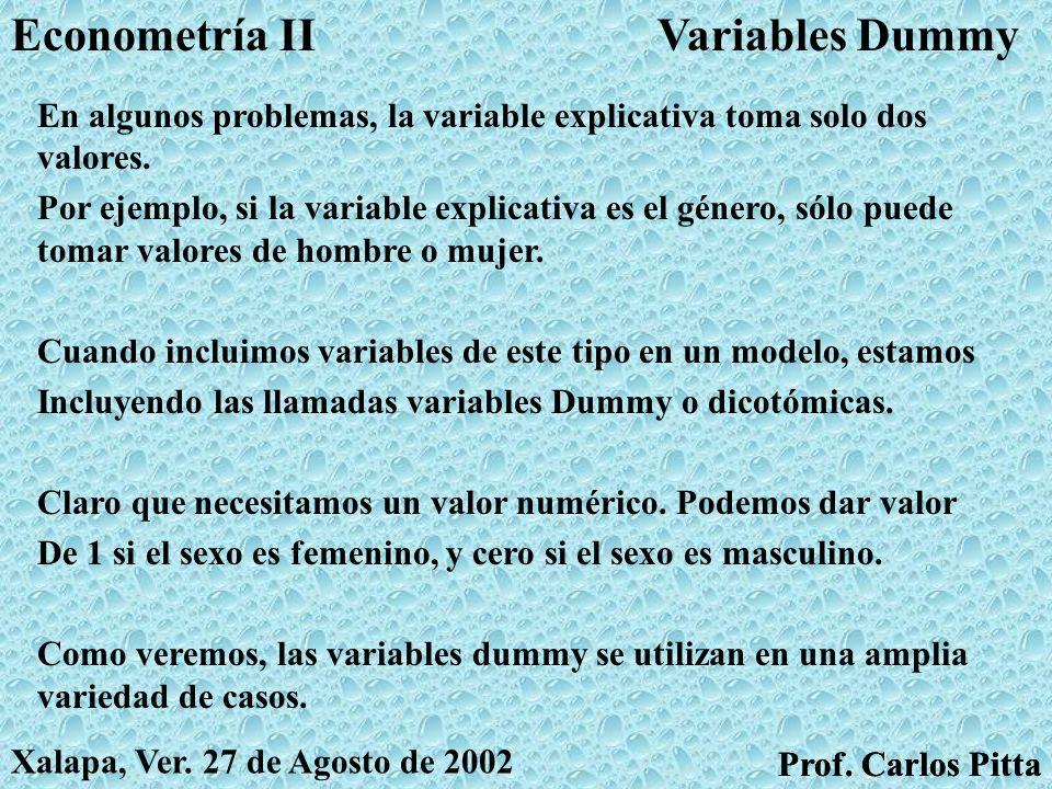 MulticolinealidadEconometría II Prof. Carlos Pitta Xalapa, Ver.