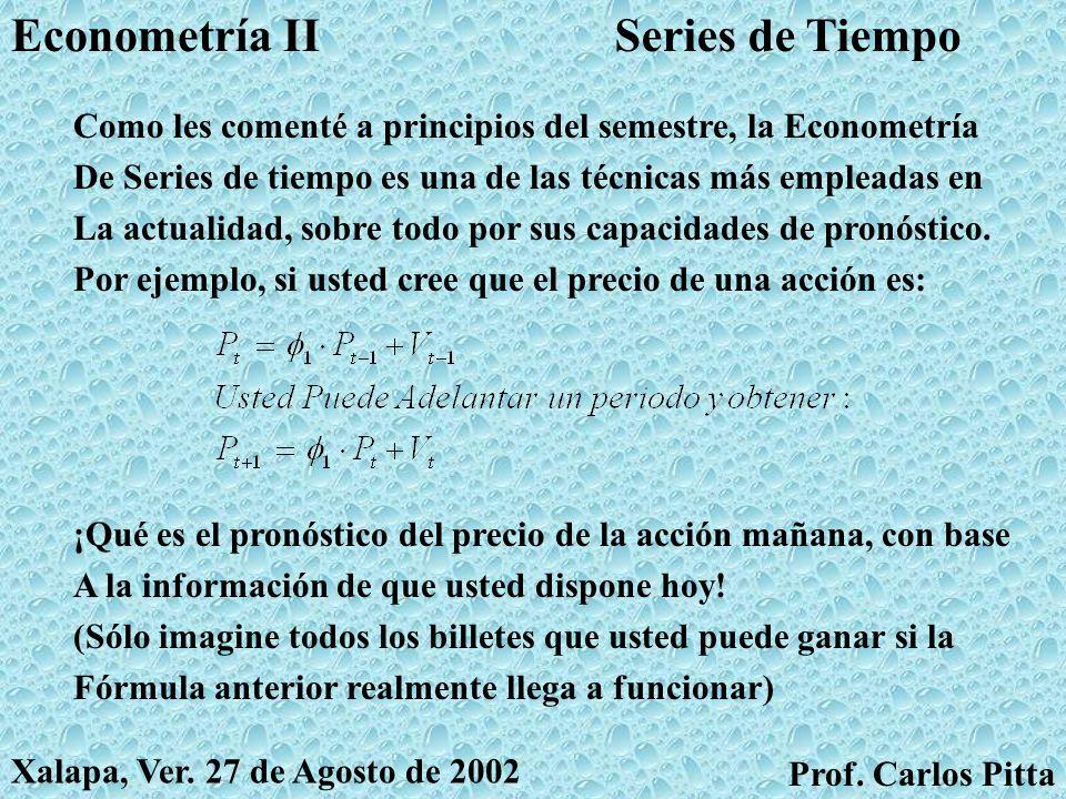 Variables DummyEconometría II Prof. Carlos Pitta Xalapa, Ver. 27 de Agosto de 2002 Prof. Carlos Pitta En algunos problemas, la variable explicativa to