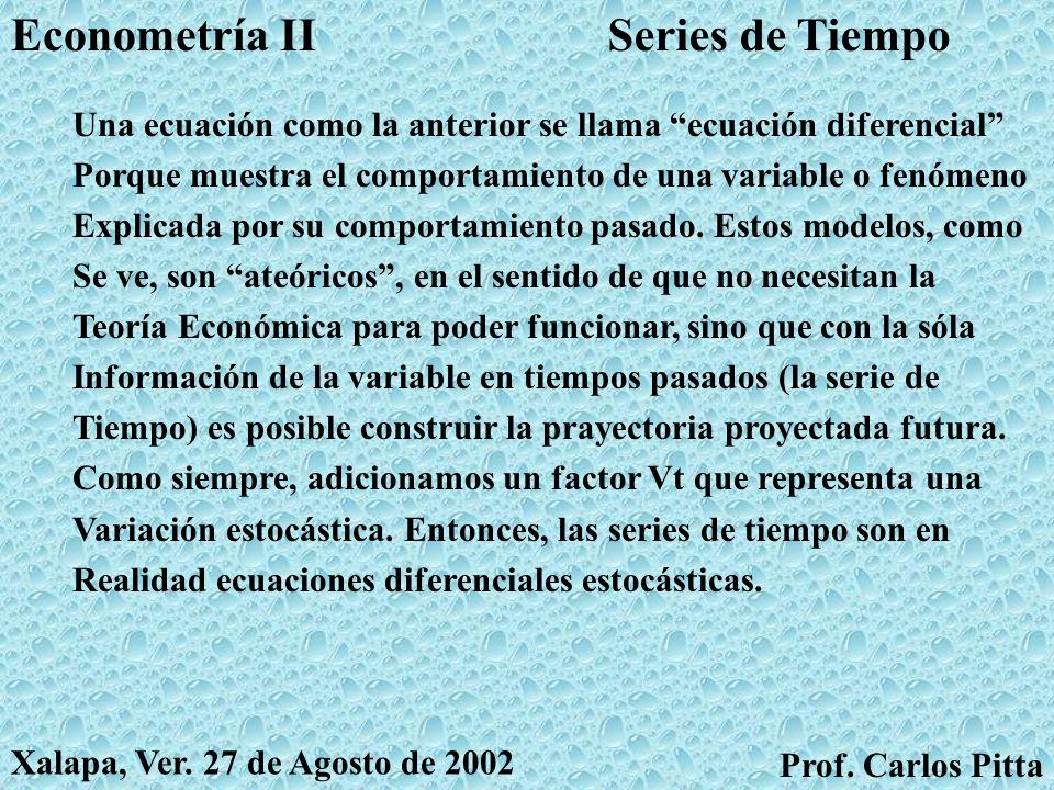 Series de TiempoEconometría II Prof. Carlos Pitta Xalapa, Ver. 27 de Agosto de 2002 Como les comenté a principios del semestre, la Econometría De Seri