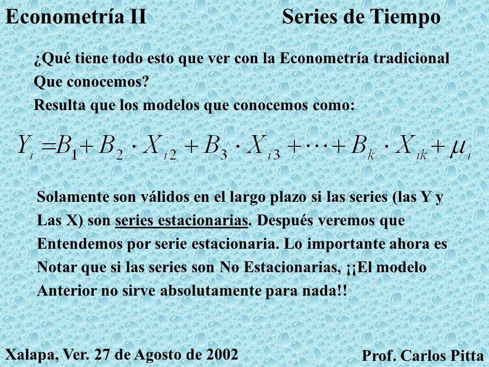 Series de TiempoEconometría II Prof. Carlos Pitta Xalapa, Ver. 27 de Agosto de 2002 Una ecuación como la anterior se llama ecuación diferencial Porque