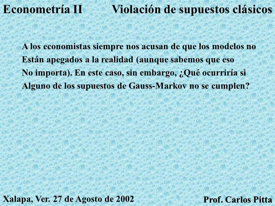 Violación de supuestos clásicosEconometría II Prof. Carlos Pitta Xalapa, Ver. 27 de Agosto de 2002 Prof. Carlos Pitta El modelo que conocemos descansa