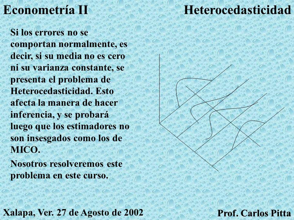 Violación de supuestos clásicosEconometría II Prof. Carlos Pitta Xalapa, Ver. 27 de Agosto de 2002 Prof. Carlos Pitta A los economistas siempre nos ac