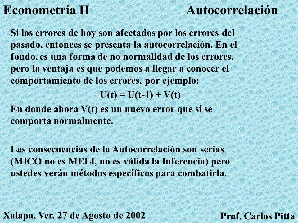 HeterocedasticidadEconometría II Prof. Carlos Pitta Xalapa, Ver. 27 de Agosto de 2002 Prof. Carlos Pitta Si los errores no se comportan normalmente, e