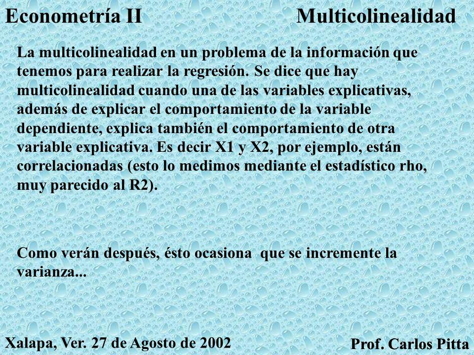 AutocorrelaciónEconometría II Prof. Carlos Pitta Xalapa, Ver. 27 de Agosto de 2002 Prof. Carlos Pitta Si los errores de hoy son afectados por los erro